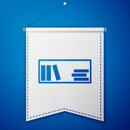 Blue Shelf with books icon isolated on blue background. Shelves sign. White pennant template. Vector Illustration Ilustrace