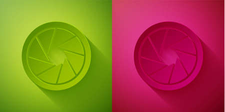 Paper cut Camera shutter icon isolated on green and pink background. Paper art style. Vector Illustration