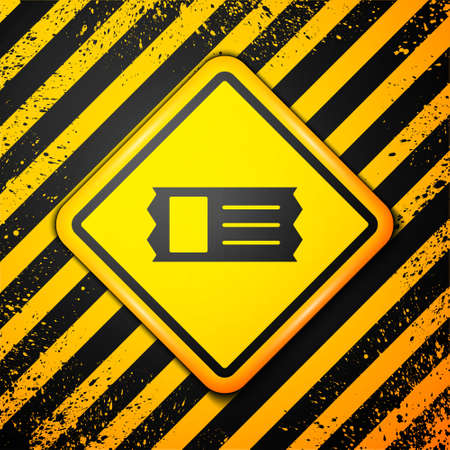 Black Cinema ticket icon isolated on yellow background. Warning sign. Vector Illustration