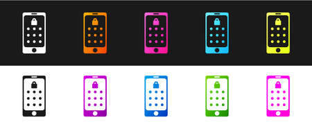 Set Mobile phone and graphic password protection icon isolated on black and white background. Security, personal access, user authorization. Vector Illustration