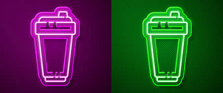 Glowing neon line Fitness shaker icon isolated on purple and green background. Sports shaker bottle with lid for water and protein cocktails. Vector Illustration Ilustrace