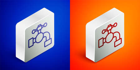 Isometric line Water tap icon isolated on blue and orange background. Silver square button. Vector Illustration