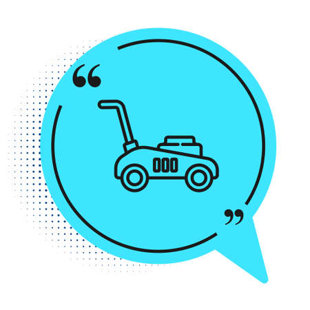 Black line Lawn mower icon isolated on white background. Lawn mower cutting grass. Blue speech bubble symbol. Vector Illustration