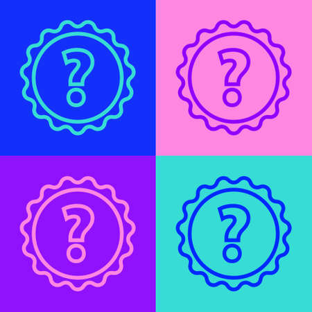 Pop art line Question mark icon isolated on color background. FAQ sign. Copy files, chat speech bubble and chart. Vector Illustration
