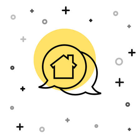 Black line Real estate message house in speech bubble icon isolated on white background. Random dynamic shapes. Vector Illustration
