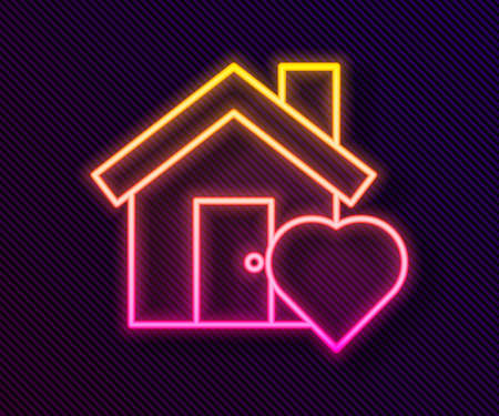Glowing neon line House with heart shape icon isolated on black background. Love home symbol. Family, real estate and realty. Vector Illustration
