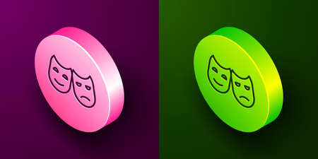 Isometric line Comedy and tragedy theatrical masks icon isolated on purple and green background. Circle button. Vector Illustration