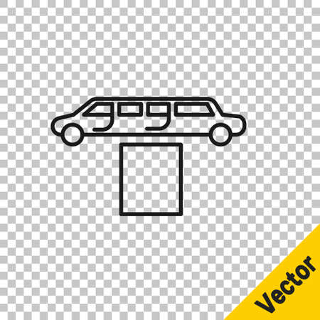 Black line Luxury limousine car and carpet icon isolated on transparent background. For world premiere celebrities and guests poster. Vector Illustration