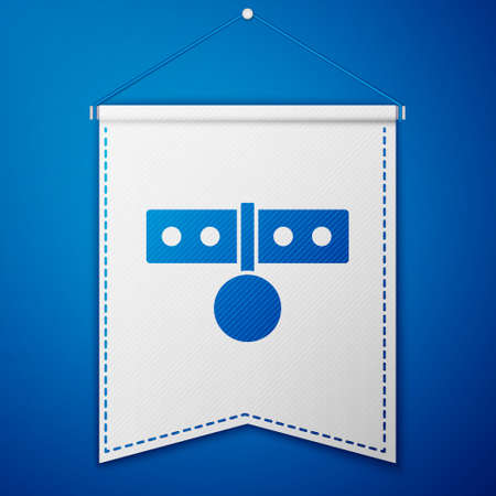 Blue Collar with name tag icon isolated on blue background. Simple supplies for domestic animal. Cat and dog care. Pet chains. White pennant template. Vector Illustration