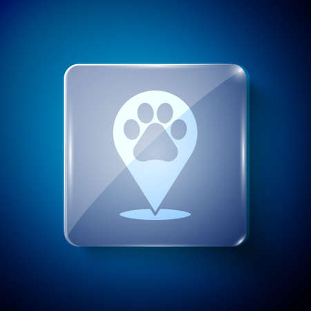 White Map pointer with veterinary medicine hospital, clinic or pet shop for animals icon isolated on blue background. Vet or veterinarian clinic. Square glass panels. Vector Stock Illustratie