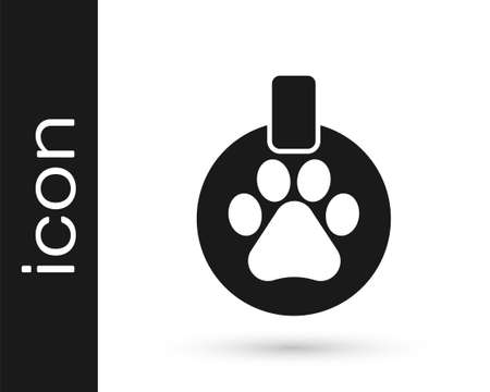 Grey Collar with name tag icon isolated on white background. Supplies for domestic animal. Dog or cat paw print. Cat and dog care. Pet chains. Vector Illustration