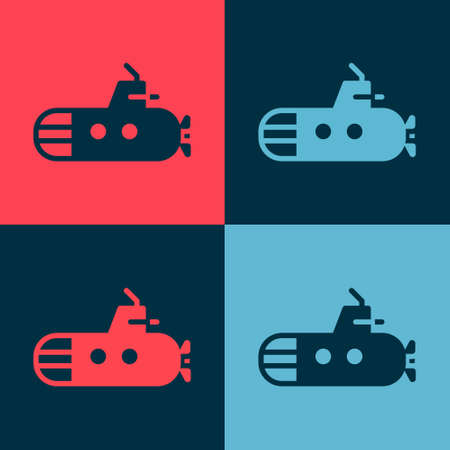 Pop art Submarine icon isolated on color background. Military ship. Vector