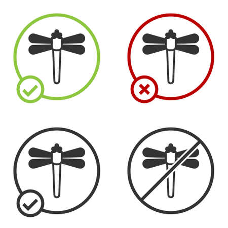 Black Dragonfly icon isolated on white background. Circle button. Vector Illusztráció