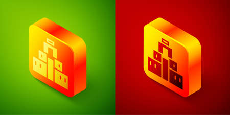 Isometric Chichen Itza in Mayan icon isolated on green and red background. Ancient Mayan pyramid. Famous monument of Mexico. Square button. Vector