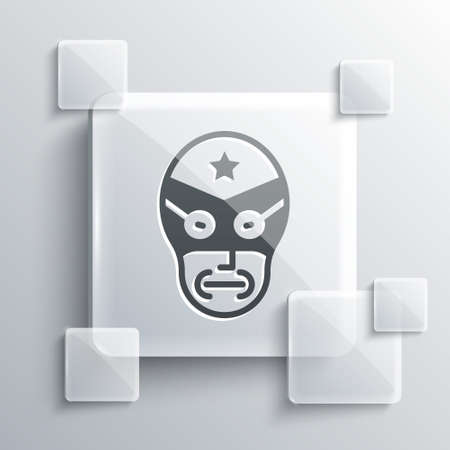 Grey Mexican wrestler icon isolated on grey background. Square glass panels. Vector