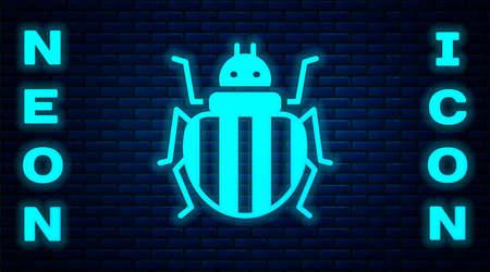 Glowing neon Colorado beetle icon isolated on brick wall background. Vector Illusztráció