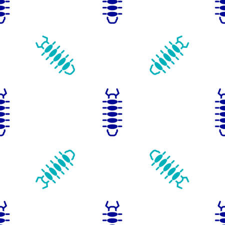 Blue Centipede insect icon isolated seamless pattern on white background. Vector