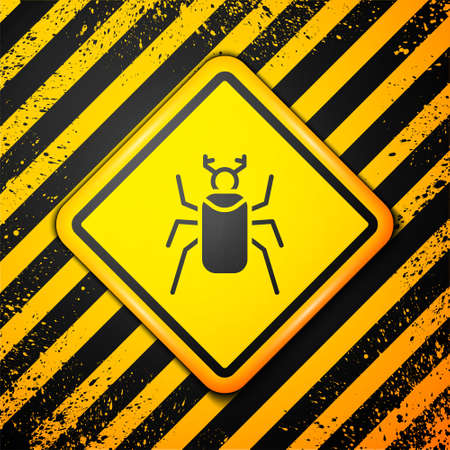 Black Beetle bug icon isolated on yellow background. Warning sign. Vector Illusztráció
