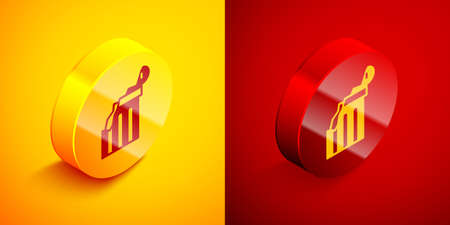 Isometric Broken ancient column icon isolated on orange and red background. Circle button. Vector