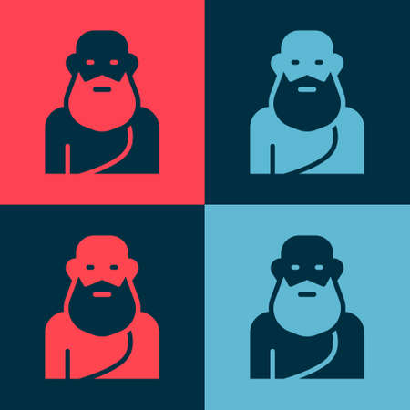 Pop art Socrates icon isolated on color background. Sokrat ancient greek Athenes ancient philosophy. Vector