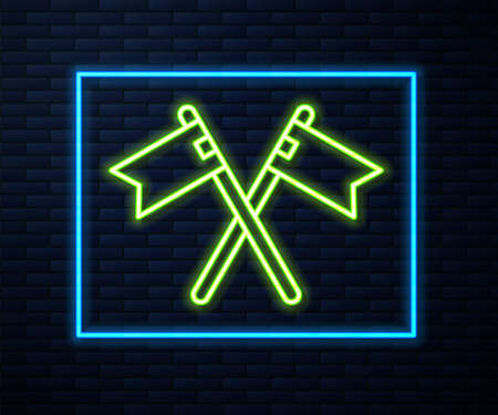 Glowing neon line Crossed medieval flag icon isolated on brick wall background. Country, state, or territory ruled by a king or queen. Vector