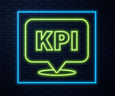 Glowing neon line KPI - Key performance indicator icon isolated on brick wall background. Vector