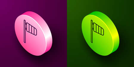 Isometric line Cone meteorology windsock wind vane icon isolated on purple and green background. Windsock indicate the direction and strength of the wind. Circle button. Vector