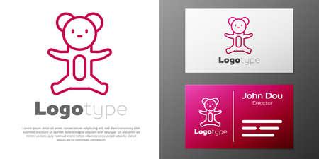Logotype line Teddy bear plush toy icon isolated on white background.