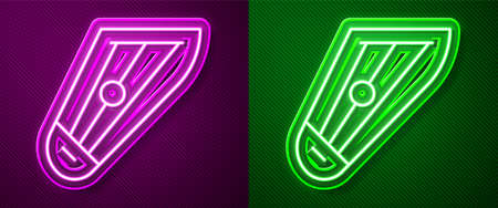 Glowing neon line Musical instrument kankles icon isolated on purple and green background. Vector