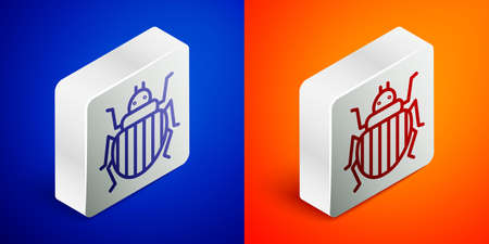 Isometric line Colorado beetle icon isolated on blue and orange background. Silver square button. Vector Illusztráció