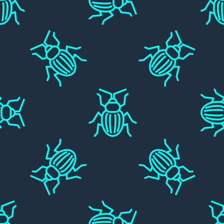 Green line Chafer beetle icon isolated seamless pattern on blue background. Vector