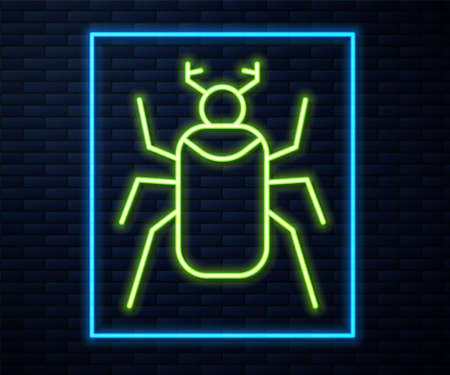Glowing neon line Beetle bug icon isolated on brick wall background. Vector Vettoriali