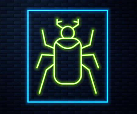 Glowing neon line Beetle bug icon isolated on brick wall background. Vector Illusztráció