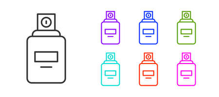 Black line Perfume icon isolated on white background. Set icons colorful. Vector Vecteurs