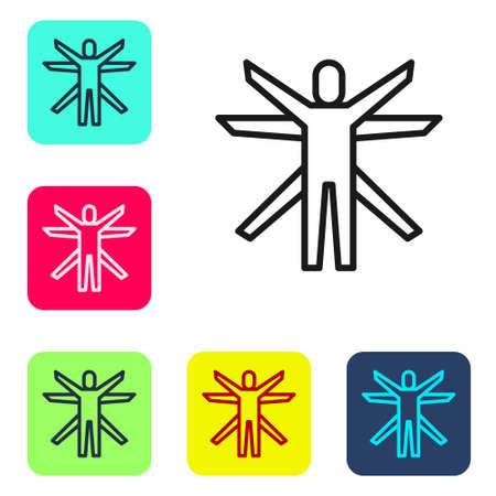 Black line Vitruvian Man by Leonardo Da Vinci icon isolated on white background. Human anatomy. Set icons in color square buttons. Vector Illustration