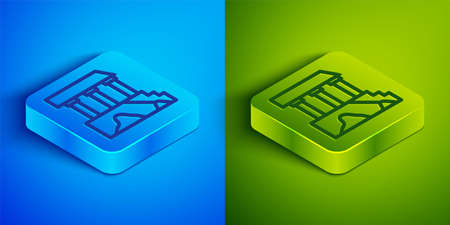 Isometric line Parthenon from Athens, Acropolis, Greece icon isolated on blue and green background. Greek ancient national landmark. Square button. Vector Illustration