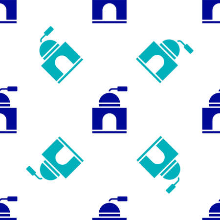 Blue Manual coffee grinder icon isolated seamless pattern on white background. Vector Illustration