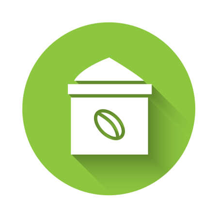 White Bag of coffee beans icon isolated with long shadow. Green circle button. Vector Illustration Illusztráció