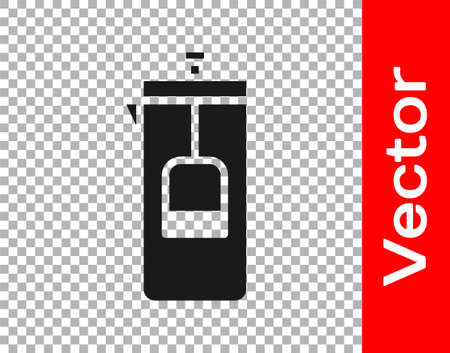 Black French press icon isolated on transparent background. Vector Illustration