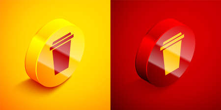 Isometric Coffee cup to go icon isolated on orange and red background. Circle button. Vector Illustration