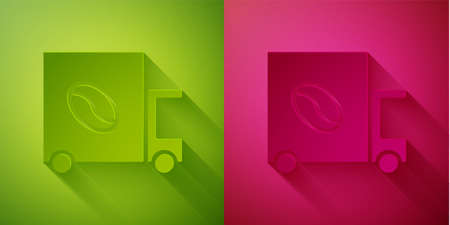 Paper cut Coffee street truck machine icon isolated on green and pink background. Delivery coffee. Paper art style. Vector Illustration Ilustrace