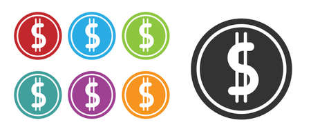Black Coin money with dollar symbol icon isolated on white background. Banking currency sign. Cash symbol. Set icons colorful. Vector Illustration Ilustracja