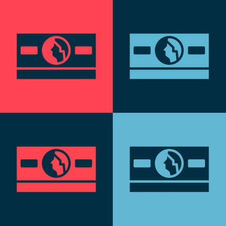 Pop art Stacks paper money cash icon isolated on color background. Money banknotes stacks. Bill currency. Vector Illustration Ilustracja