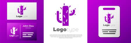 Logotype Cactus icon isolated on white background. Logo design template element. Vector Illustration Ilustrace