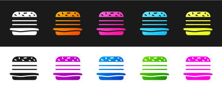 Set Burger icon isolated on black and white background. Hamburger icon. Cheeseburger sandwich sign. Fast food menu. Vector Illustration