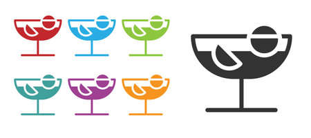 Black Cocktail icon isolated on white background. Set icons colorful. Vector Illustration Ilustrace