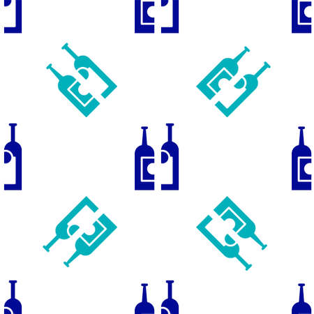 Blue Bottles of wine icon isolated seamless pattern on white background. Vector Illustration