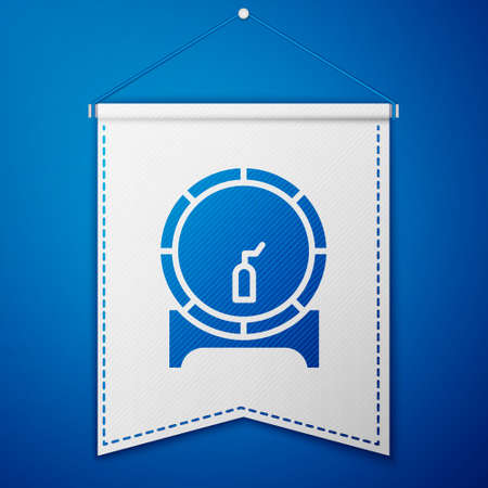 Blue Wooden barrel on rack with stopcock icon isolated on blue background. White pennant template. Vector Illustration 矢量图像