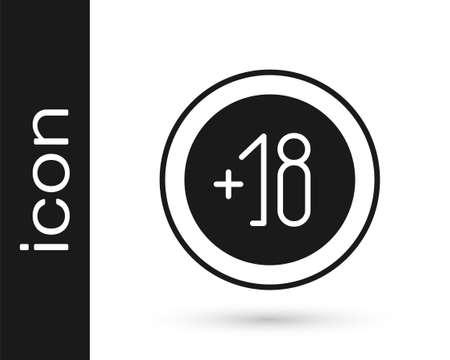 Grey Alcohol 18 plus icon isolated on white background. Prohibiting alcohol beverages. Vector Illustration