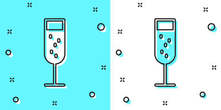 Black line Glass of champagne icon isolated on green and white background. Random dynamic shapes. Vector Illustration 矢量图像